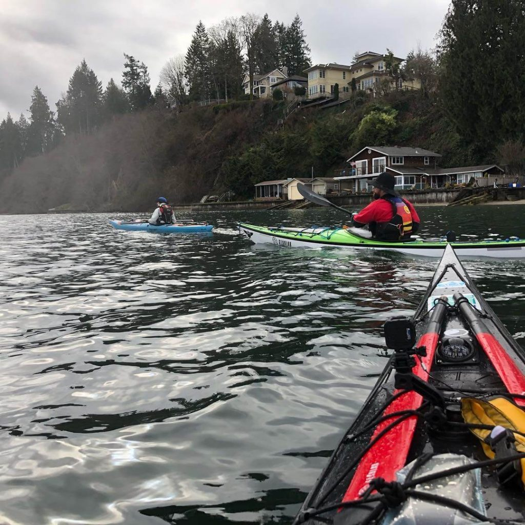 Robert Nissenbaum and 2 other paddlers kayaking from Olympia to the Nisqually Delta