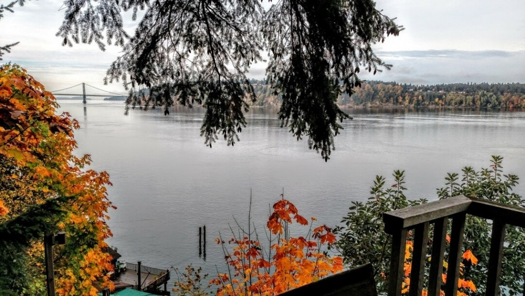 Fall 2016 from the top of the north stairs looking at the Tacoma Narrows bridge at Salmon Beach