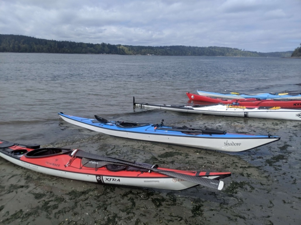 Our kayaks lined up on the Western shore of Vashon Island
