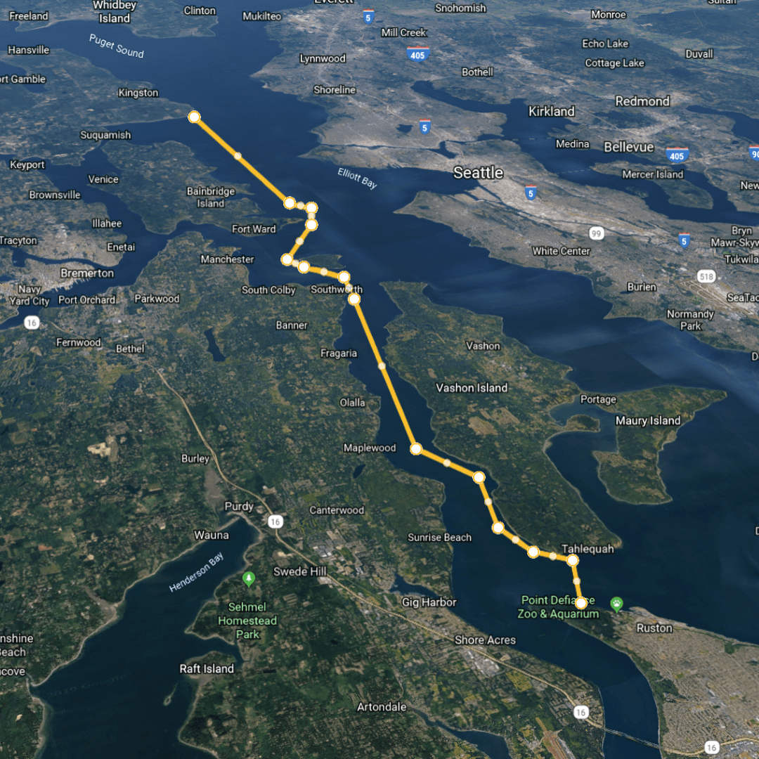 The H2O Project Leg 3 - Point Defiance to Point Jefferson map