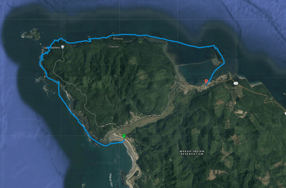GPS Sea kayaking from Hobuck Beach on the Pacific Ocean to Neah Bay H20 Project Leg 4