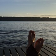 No Regrets - enjoying life with my feet up on the deck watching the sunset
