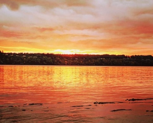 Fire and Water - a brilliant reds in a sunset over the Tacoma Narrows