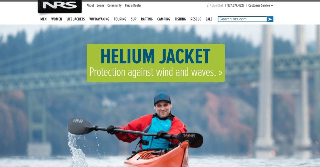 Robert Nissenbaum featured kayaking in Tacoma on the homepage of the NRS website 2-23-2020