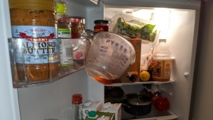 COVID19 self quarantine - Day 13 picture of refrigerator with Pyrex dish hanging from door by it's handle