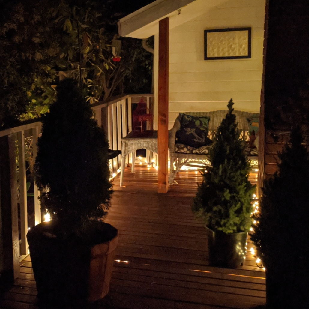 The bird sanctuary on the north side deck of our beach house at night