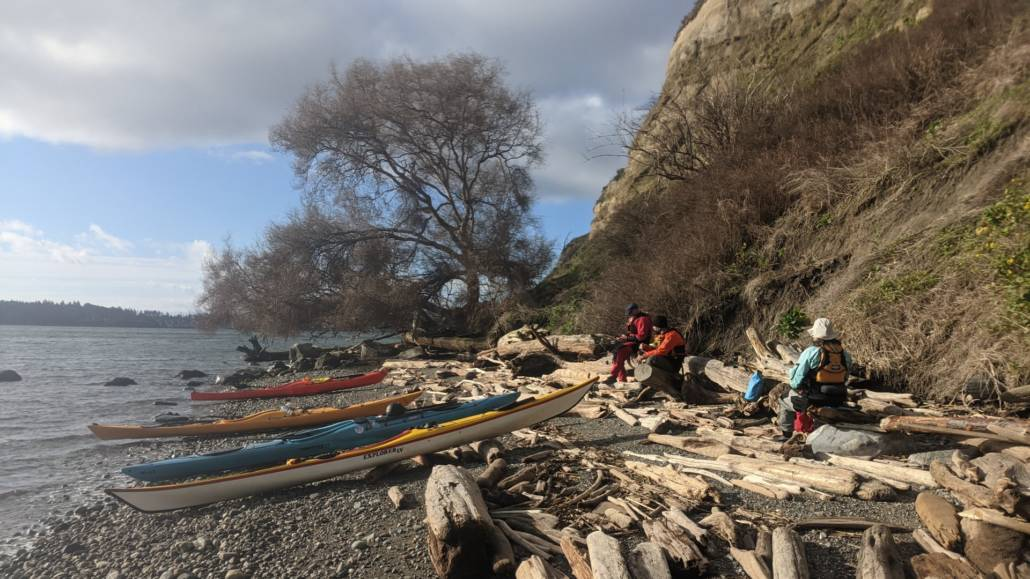 4 sea kayaks resting on driftwood as paddlers eat lunch in the sun