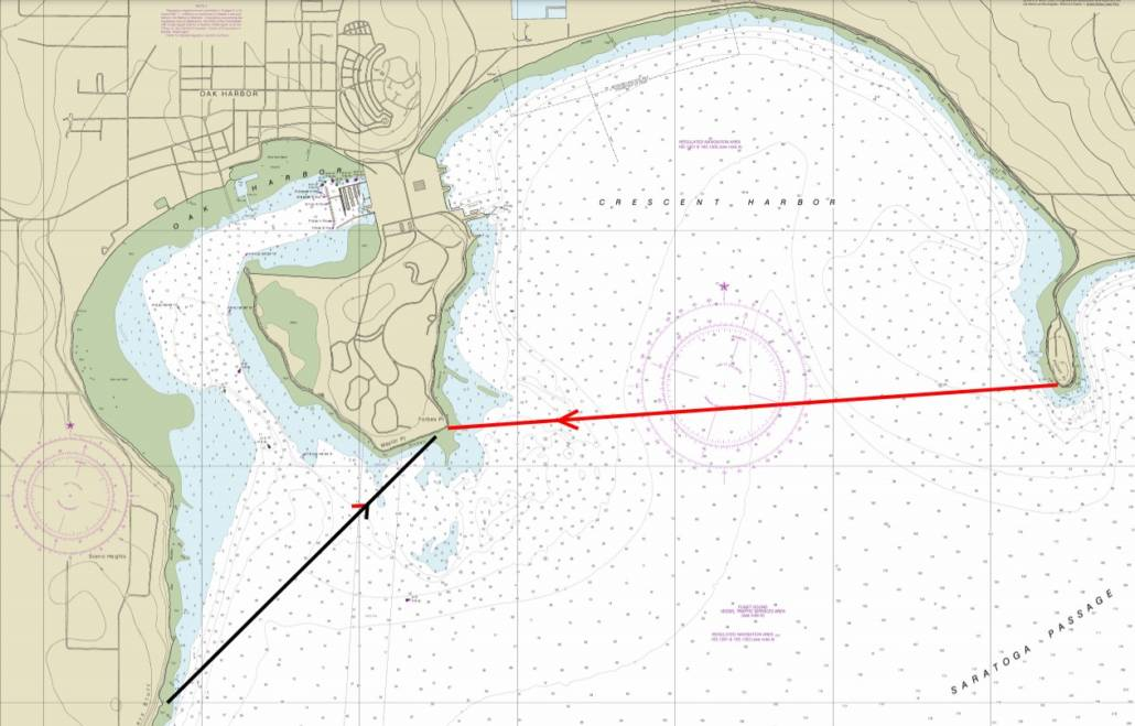 Nautical Chart showing the original route from Polnell Point to Forbes Point and the route we chose