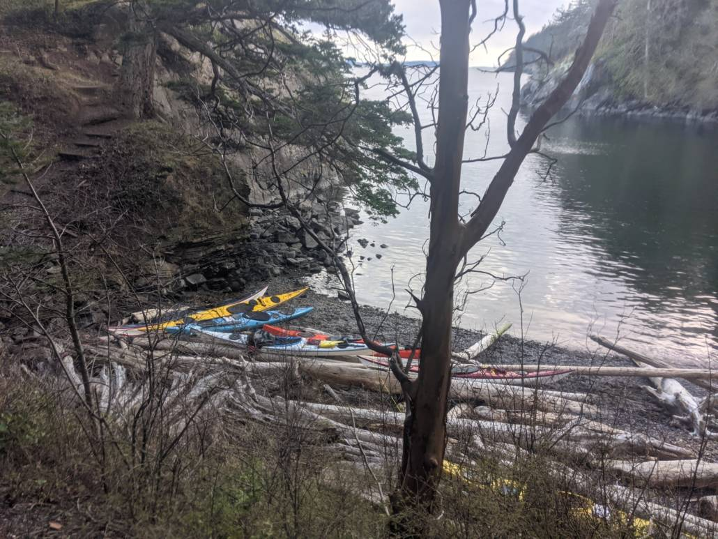 Our sea kayaks on the beach at the Washington Water Trails Association campsite on Lummi Island