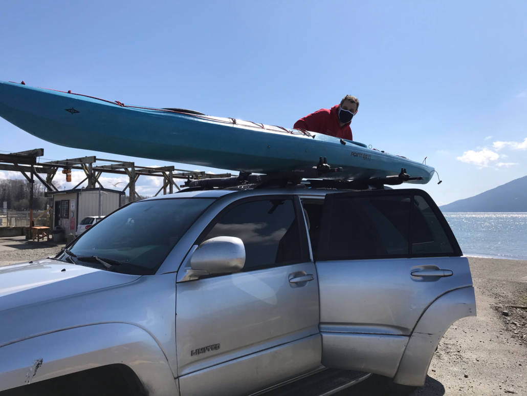 Robert Nissenbaum and his Point 65 Nigel Foster Whisky 16 atop his 4Runner getting ready to head home.