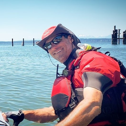 Robert Nissenbaum sea kayak instructor while coaching with Salmon Bay Paddle off Shilshole Bay in Seattle